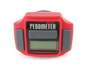 Digital Pedometer Clip On Red Grey Walking Calorie Counter Exercise