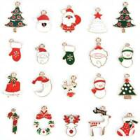 20Pcs/Set Enamel Alloy Mixed Christmas Charms Pendant Jewelry DIY Craft Making