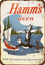 "7"" x 10"" Metal Sign - 1956 Hamms Beer Bears Fishing - Vintage Look Reproduction"