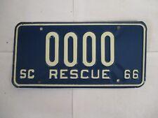 1966 South Carolina RESCUE SAMPLE  License Plate Tag