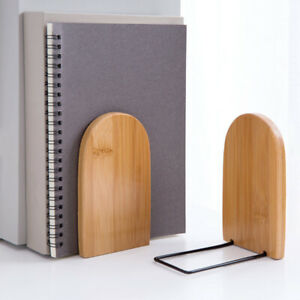 Nature Bamboo Desktop Organizer Bookends Book Ends Stand Holder Shelf Bookr HF