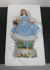 "BARBIE AS ""DOROTHY"" 10"" PORCELAIN FIGURE IN BLUE GINGHAM DRESS, MUSIC BOX, 1996!"