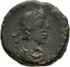 Ancient Rome 393-423 AD HONORIUS AE3 VIRTUS EMPEROR CROWN VICTORY #2