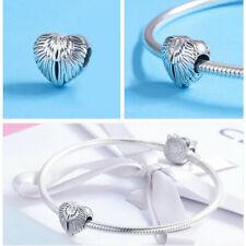 Charm Anhänger f. Pandora Engel Himmel Flügel  Herz Perle 925 Sterling Silber