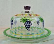 Italian Glass Zrike Hand Painted Cheese Dome With Grapes Serveware Platter