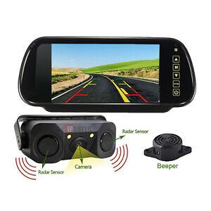 "7"" Car  Mirror Monitor Screen + Reversing Camera Parking Radar Sensor Beeper Kit"