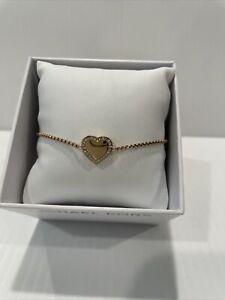 $85 New MICHAEL KORS HERITAGE ROSE GOLD CRYSTAL HEART BRACELET MKJX5391791