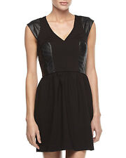 NEW $198 French Connection Sz 8 Black Ponte Faux Leather Fit & Flare Dress