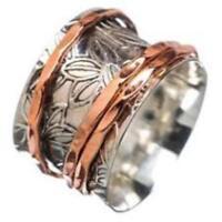 925 Sterling Silver Wide Band Meditation Ring Statement Ring Spinner Ring SR601