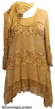 Made in Italy - goITT212MUS - Gold Tiered Wool & Lace Dress & Scarf