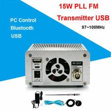 15W PLL FM Transmitter Wireless USB Station Radio Broadcast Antenna FM 88~108MHz
