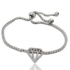 Bracciale tennis in argento 925 rodiato con chiusura a cappio diamante centrale