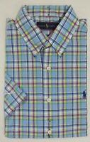 Ralph Lauren Polo Pony Buttoned Classic Fit Short Sleevs Plaid Dress Shirt S M L