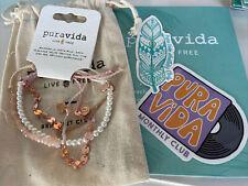 PURAVIDA Monthly 3 Bracelet Set Rose Gold Chain Pearl Rose Quartz w Stickers