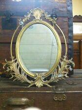 Vintage Brass Table Vanity Mirror Victorian-Ornate Frame-Hollywood Regency