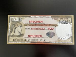 USA $10 AMERICAN EXPRESS TRAVELERS CHEQUE GIFT CHECK SPECIMEN TRAINING PURPOSES