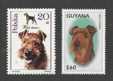 Dog Art / Photo Head Portrait Postage Stamp Collection Welsh Terrier 2 x Mnh