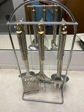 Vintage INOX Stainless 6 Piece Kitchen Utensil Set W/Stand