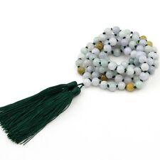 8mm Natural Jadeite Jade Tibet Buddhist 108 Prayer Beads Mala Necklace With Knot
