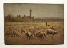 Tableau ancien, Huile sur panneau, Berger est ses moutons, Début XXe