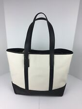 COACH F23248 West Tote Carryall Bag Men's Pebbled Leather Chalk Black NWT
