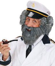 Vollbart mit Schnurrbart grau NEU - Karneval Fasching Bart Verkleidung