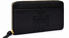 NWT Tory Burch Harper Zip Continental Leather Wallet Black