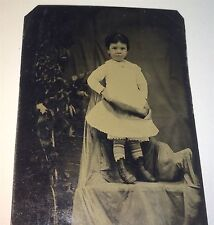 Strange Antique Victorian American Child, Plant & Covered Chair Tintype Photo!