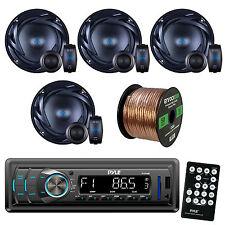 "Pyle PLR34M AM FM Car USB Radio,Autotek ATS65C ATS 6.5"" Speakers and 50FT Wiring"