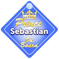 Crown Prince Sebastian a bordo personalizada bebé niño Coche Señal