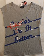 LADIES GREY TEE SHIRT AUSSIES DO IT BETTER PRINT TOP SIZE S M POLY COTTON