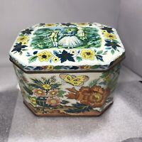 Vintage Courting Couple Metal Ware Tin Spring Scene Canister Flowers Butterfly