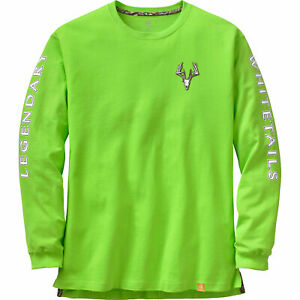 Legendary Whitetails Men's Non-Typical Series Long Sleeve T Shirt Tee Lime Sz L