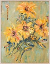 Vintage Oil Painting Sunflower Still Life Signed Ruth Fender Gold Wood Frame