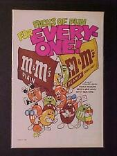 OLD ~MARS CANDIES M&M's MILK CHOCOLATE CANDY ART PRINT AD~ ORIG VINTAGE 1985