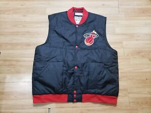 Vintage Mitchell and Ness Miami Heat Team Issued Puffer Vest Jacket Size 3XL