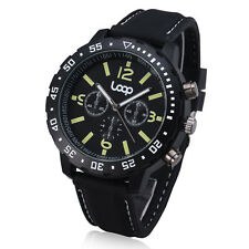 Oversize Mens Quartz Sport Military Army Big Wrist Watch Black Rubber Band 67