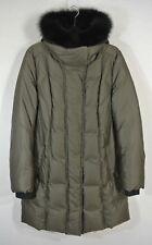 NEW Soia & Kyo Genuine Fox Fur Trim Hooded Down Coat in Olive - Size L $645