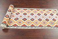 3x16 Diamond Shape Geometric Turkish 16 ft Kilim Oriental Hand-Woven Runner Rug
