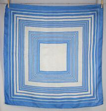 Vintage Echo Blue and White Geometric Print Large Silk Scarf, Japan