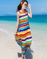 Womens Mixed Color Scoop Neck Dress Maxi Sleeveless Beach Chiffon Fashion A2981