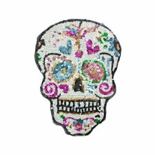 Sequin Sugar Skull L (Sew On) Embroidery Applique Patch Sew Iron Badge