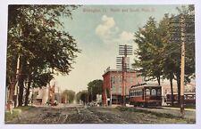 OH Postcard Vintage Trolleys Wellington Ohio North and South Main Street