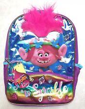 "DreamWorks Trolls 16"" Backpack School Book Bag Tote Sparkle Crazy Hair Poppy"