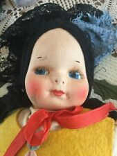 Antique Cloth 14� Doll Paper Mache Painted Face, Straw Eyelashes Unknown Origin
