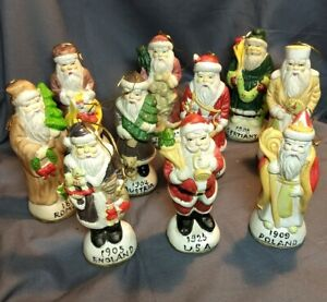 "10 CHRISTMAS TREE SANTA CLAUS ORNAMENTS PORCELAIN 5"" TALL COUNTRIES LOT 10"