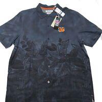 Tommy Bahama NFL Parque Polo Hawaiian Shirt Bengal Black Size XL Trim Fit Nwt