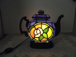 """Cheyenne Tiffany Style Stained Glass Blue Teapot  Accent Night Light Lamp 9"""""""