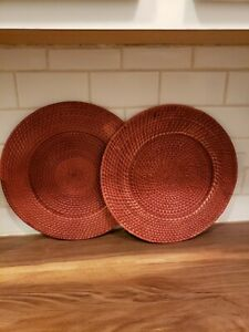 """Crate&Barrel Wicker Charger Plate Holder SET OF 2 Round Medium Brown Woven 13"""""""