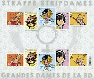 Belgium Comics Stamps 2021 MNH Leading Ladies in Comic Books Cartoons 10v M/S